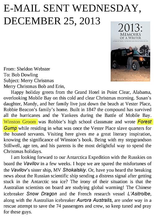 Forest Gump, de Winston Groom, mencionado en libro