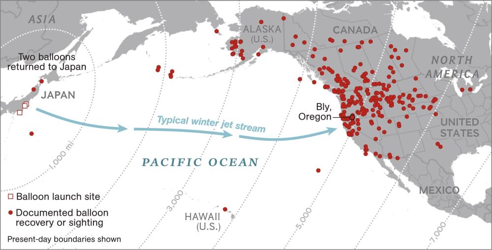 Mapa Globos Bomba japoneses